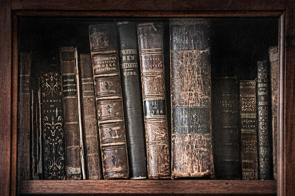 Book Shelf Photograph - Old Books On The Shelf - 19th Century Library by Gary Heller