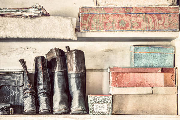 Photograph - Old Boots And Boxes - On The Shelves Of A 19th Century General Store by Gary Heller
