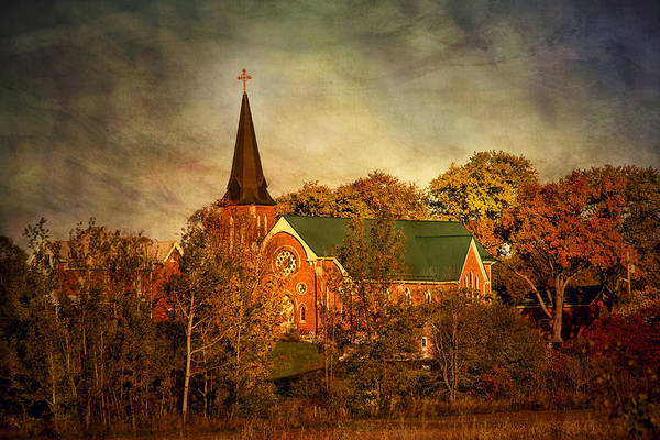Photograph - Old Brick Church In Autumn by Peggy Collins