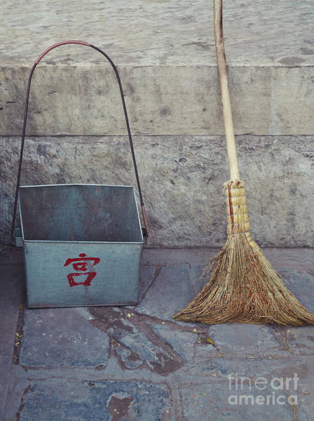 Photograph - Old Broom And Dust Pan On Beijing Street by Bryan Mullennix