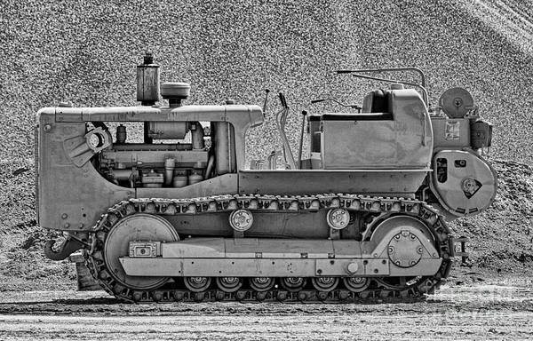 Photograph - Old Bulldozer In Black And White by Les Palenik