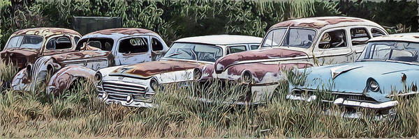 Scrap Iron Digital Art - Old Car Graveyard by Richard Farrington