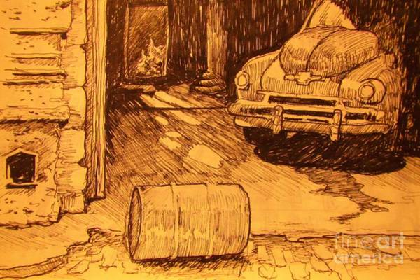 Old Truck Drawing - Old Car In Garage by John Malone