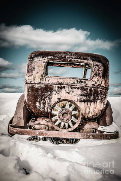 Relic Photograph - Old Car In The Snow by Edward Fielding