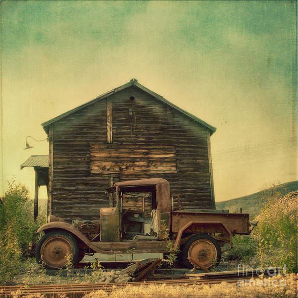 Green Car Photograph - Abandoned by Priska Wettstein