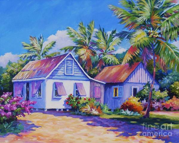 South Beach Painting - Old Cayman Cottages by John Clark