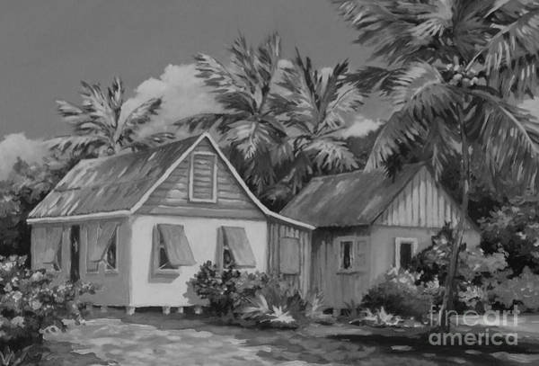 Trinidad Wall Art - Painting - Old Cayman Cottages Monochrome by John Clark