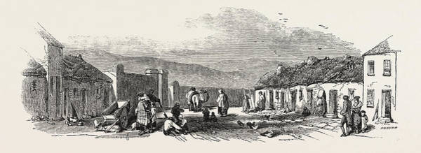 Old Style Drawing - Old Chapel Road, Dungarvan, A Scene Of The Late Food Riots by English School
