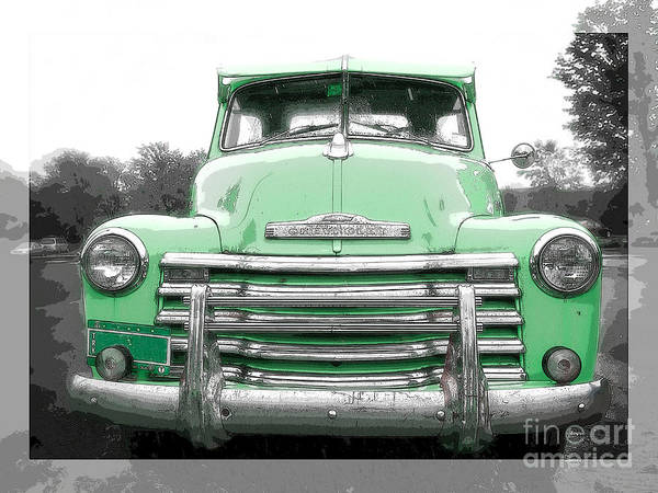 Ink Pen Photograph - Old Chevy Pickup Truck by Edward Fielding