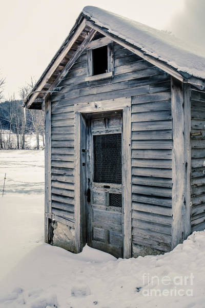 Photograph - Old Chicken Coop Etna New Hampshine In The Winter by Edward Fielding