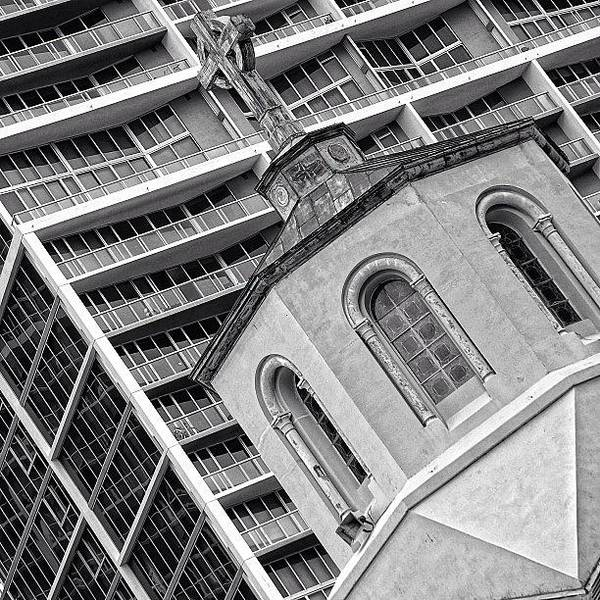 Religious Wall Art - Photograph - Old Church & New Skyscraper - Miami by Joel Lopez