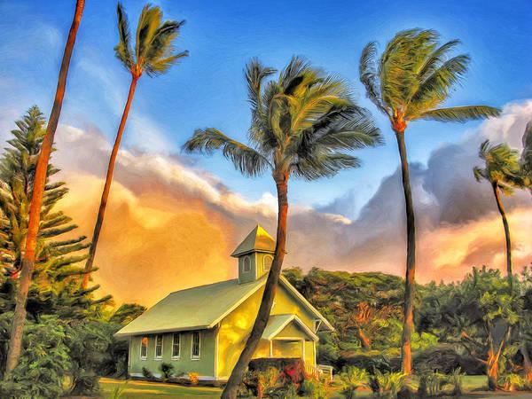 Kona Painting - Old Church At Honokawai Maui by Dominic Piperata