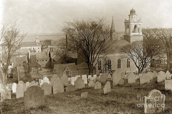Photograph - Old Church's Cemetery Graveyard Boston Massachusetts Circa 1900 by California Views Archives Mr Pat Hathaway Archives
