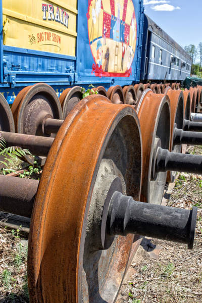 Essex Photograph - Old Circus Train Wheels by Edward Fielding