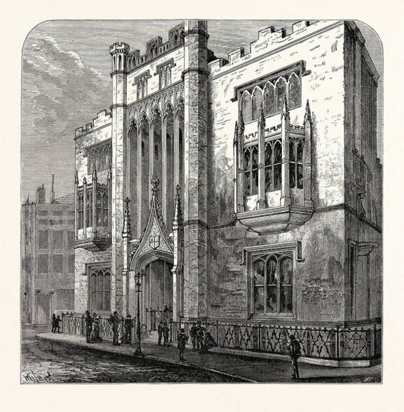 Old Style Drawing - Old City Of London School 1879 London by English School