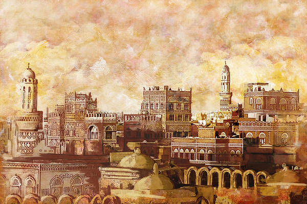 Wall Art - Painting - Old City Of Sanaa by Corporate Art Task Force