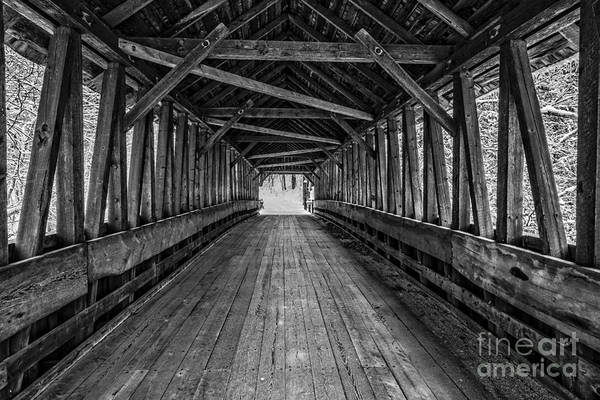 Photograph - Old Covered Bridge Winter Interior by Edward Fielding