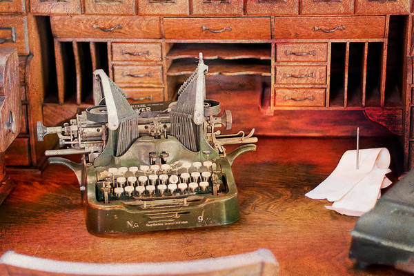 Photograph - Old Desk With Type Writer by Gunter Nezhoda