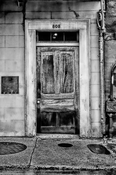 Photograph - Old Door - Bw by Christopher Holmes
