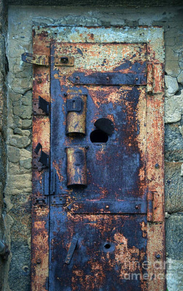 Rusty Chain Wall Art - Photograph - Old Door At Abandoned Prison by Jill Battaglia