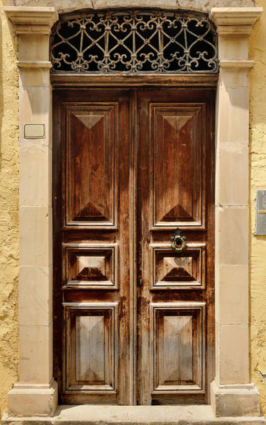 Handle Photograph - Old Door Facade In City Of Rethymno by Windujedi