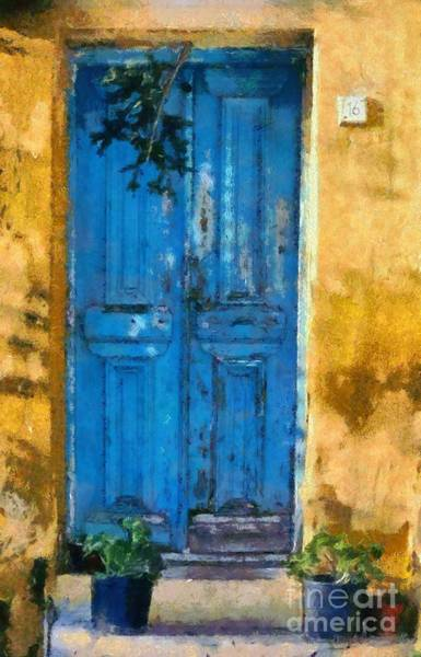 Greek House Painting - Old Door In Plaka Area Of Athens by George Atsametakis