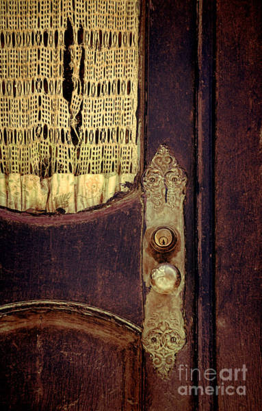 Wall Art - Photograph - Old Door With Lace Curtain by Jill Battaglia