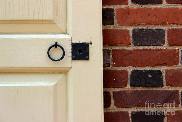 Photograph - Old Doorknob And Brick Wall by Karen Adams