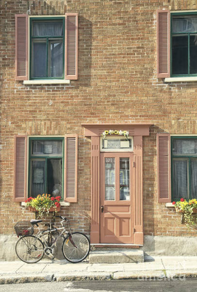 Photograph - Old Downtown Building Doorway And Bike On Street by Edward Fielding
