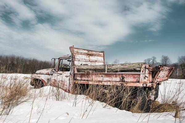 Sullivan County Photograph - Old Dump Truck - Winter Landscape by Gary Heller