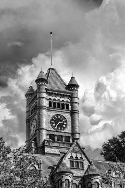 Painting - Old Dupage County Courthouse Clouds Black And White by Christopher Arndt