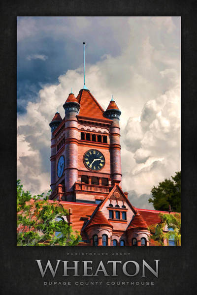 Courthouse Painting - Old Dupage County Courthouse Clouds Poster by Christopher Arndt