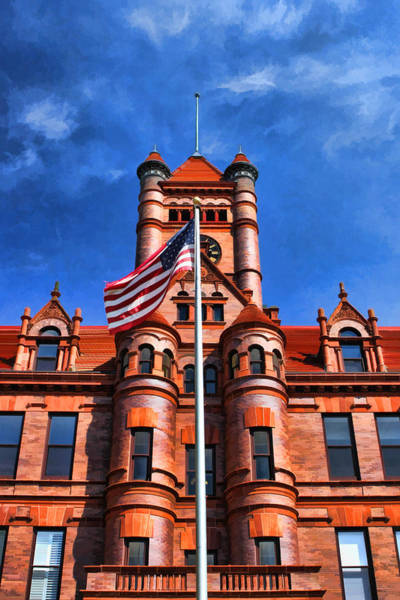 Painting - Old Dupage County Courthouse Flag by Christopher Arndt