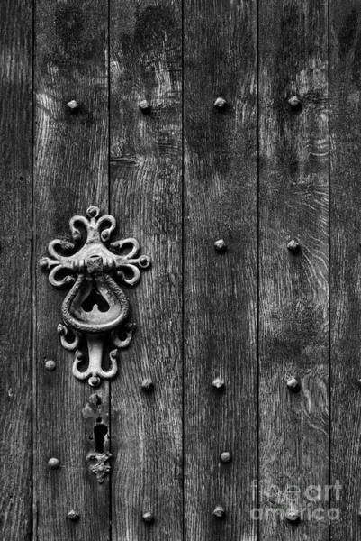 Wooden Church Wall Art - Photograph - Old English Church Door Handle by Tim Gainey