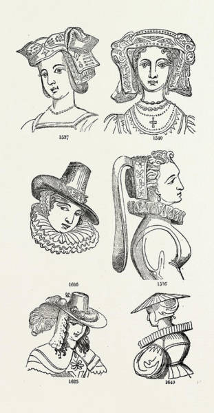 Old Style Drawing - Old English Head Dress, Uk, Britain, British by Litz Collection