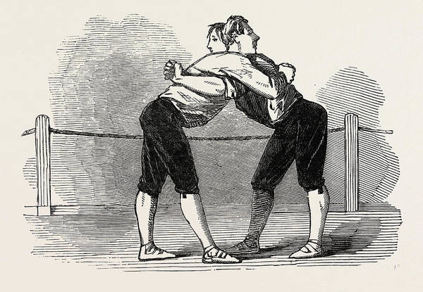 Old Style Drawing - Old English Sports At Saville House, Leicester Square by English School