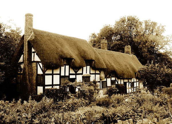 Vintage Conway Photograph - Old English Thatched Cottage by Tom Conway