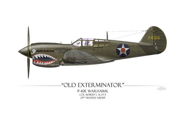 Volunteer Wall Art - Painting - Old Exterminator P-40 Warhawk - White Background by Craig Tinder