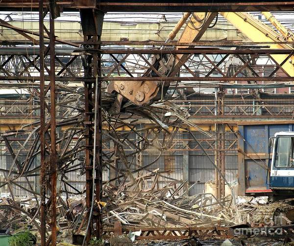 Excavator Photograph - Old Factory Is Being Demolished by Yali Shi