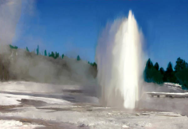 Photograph - Old Faithful Gyser Yellowstone by Bob and Nadine Johnston