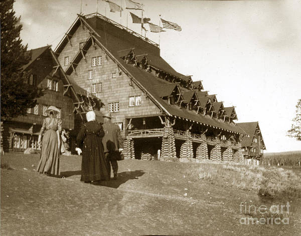 Photograph - Old Faithful Inn Yellowstone Lodge Wyoming 1900 by California Views Archives Mr Pat Hathaway Archives