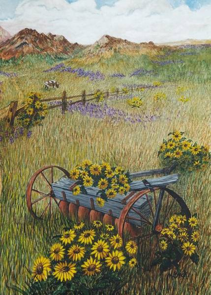 Wall Art - Painting - Old Farm Equipment by Katherine Young-Beck