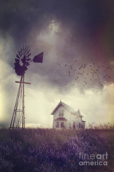 Photograph - Old Farm House On The Prairies With Storm Approaching by Sandra Cunningham