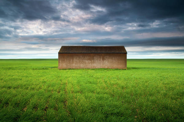 Australia Photograph - Old Farm Shed In Green Wheat Field by Robert Lang Photography