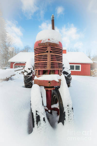 Big Red Photograph - Old Farm Tractor In The Snow by Edward Fielding