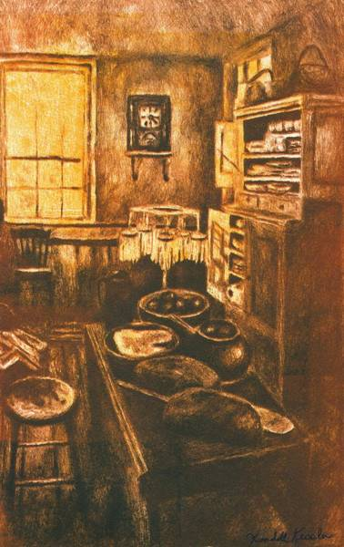 Drawing - Old Fashioned Kitchen Again by Kendall Kessler