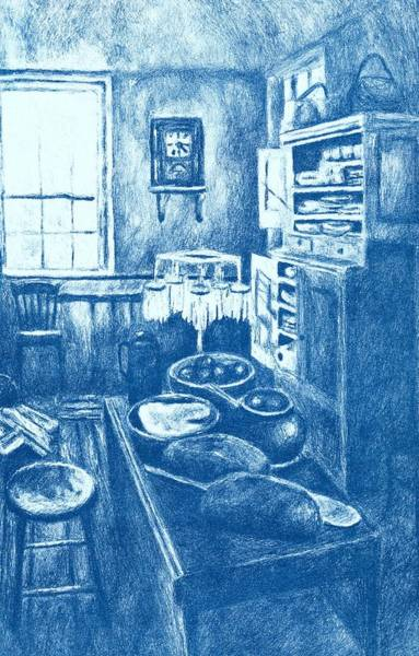 Drawing - Old Fashioned Kitchen In Blue by Kendall Kessler