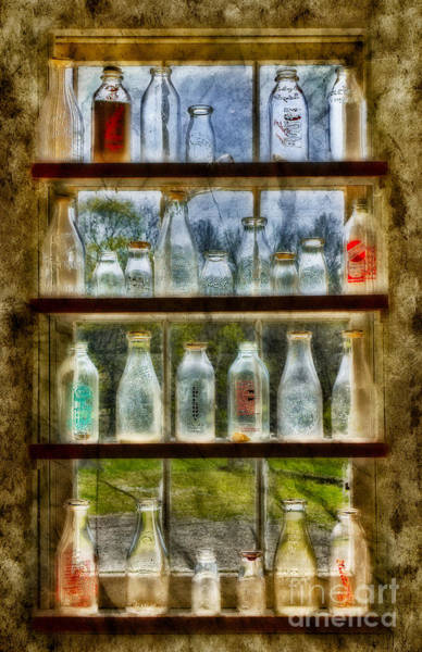 Photograph - Old Fashioned Milk Bottles by Susan Candelario