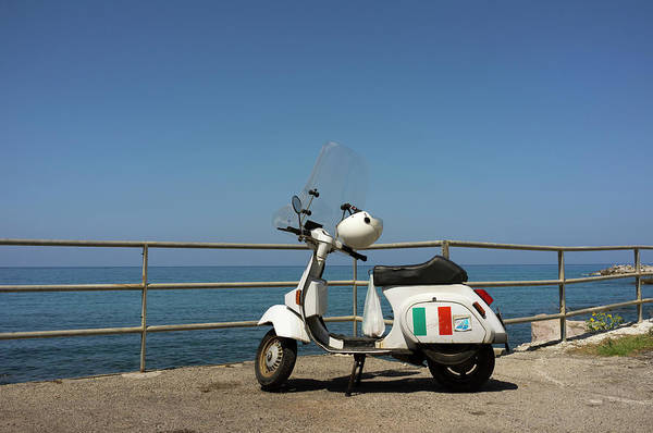 Crash Helmet Photograph - Old Fashioned Scooter At Seaside by Johner Images