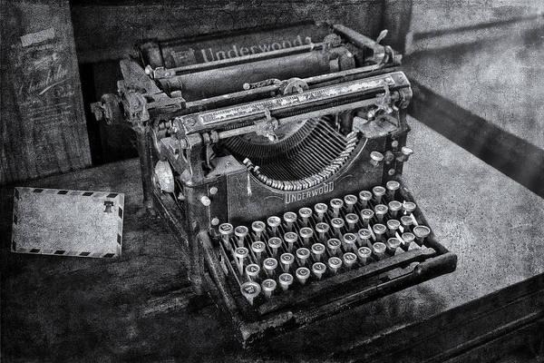 Photograph - Old Fashioned Underwood Typewriter Bw by Susan Candelario